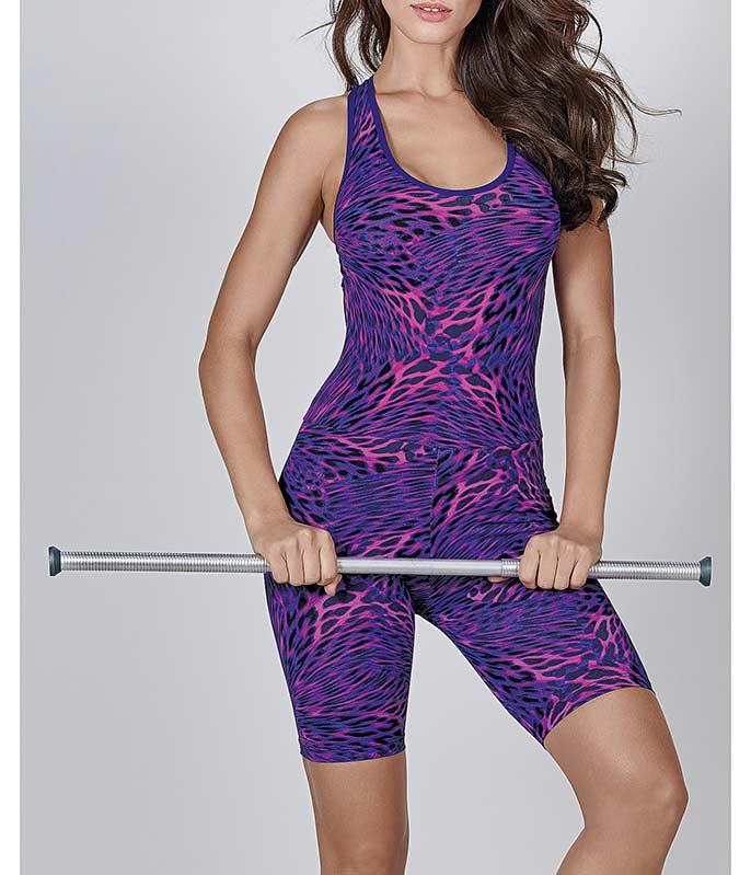 89b44f60c Macaquinho Nadador Oncinha Roxa Fitness DeMillus (44835)    lingerie ...