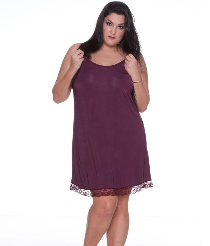 45face679 Voltar Camisola Curta Liganete com Renda E-Pijama (5431) Plus Size