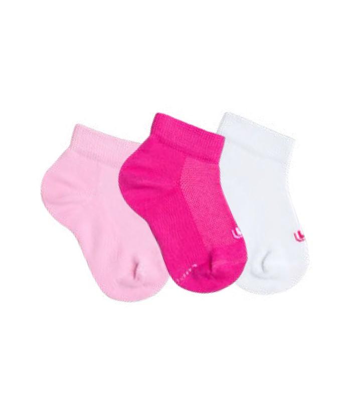 Kit Infantil 3 Pares de Meias Lupo Kids (2725-089) Pink Branco Rosa ... c3dcb0a5e69