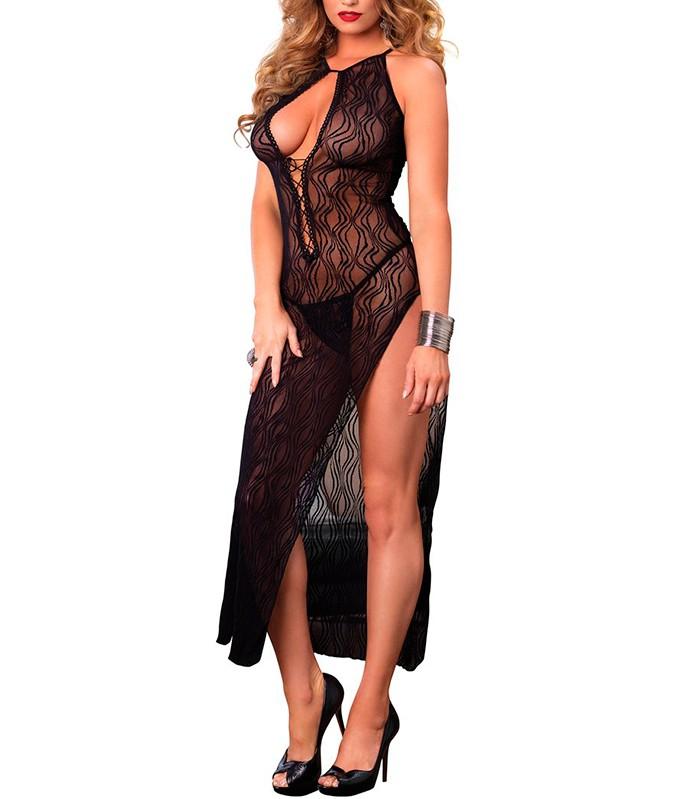 d1840fc4c noite camisola longa vestido longo leg avenue 8536 lace long dress with g  string