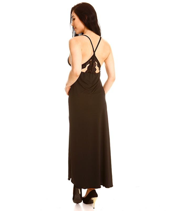 dde37c9c3 noite camisola longa camisola longa costas em renda 9398 microfibra