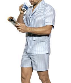 Pijama Curto Masculino Presidente (PC920) Tecido Plano 100% algodão d18eb85b0e699