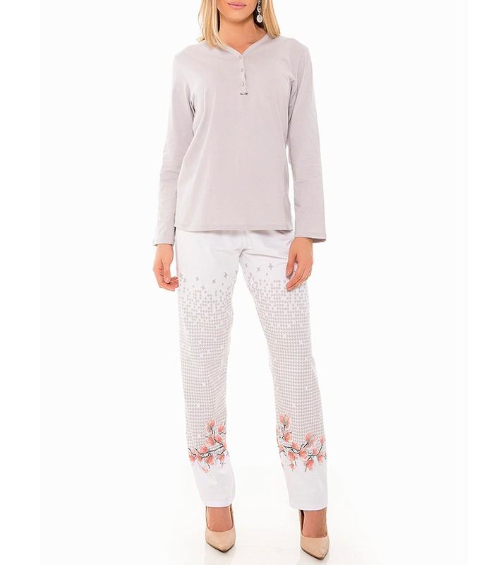 e6b82cfcc9cf6f Pijama Longo PiedFlowers 100% Algodão Recco (11288) Plus Size
